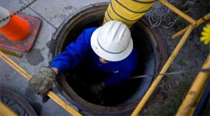 a man working in a confined space